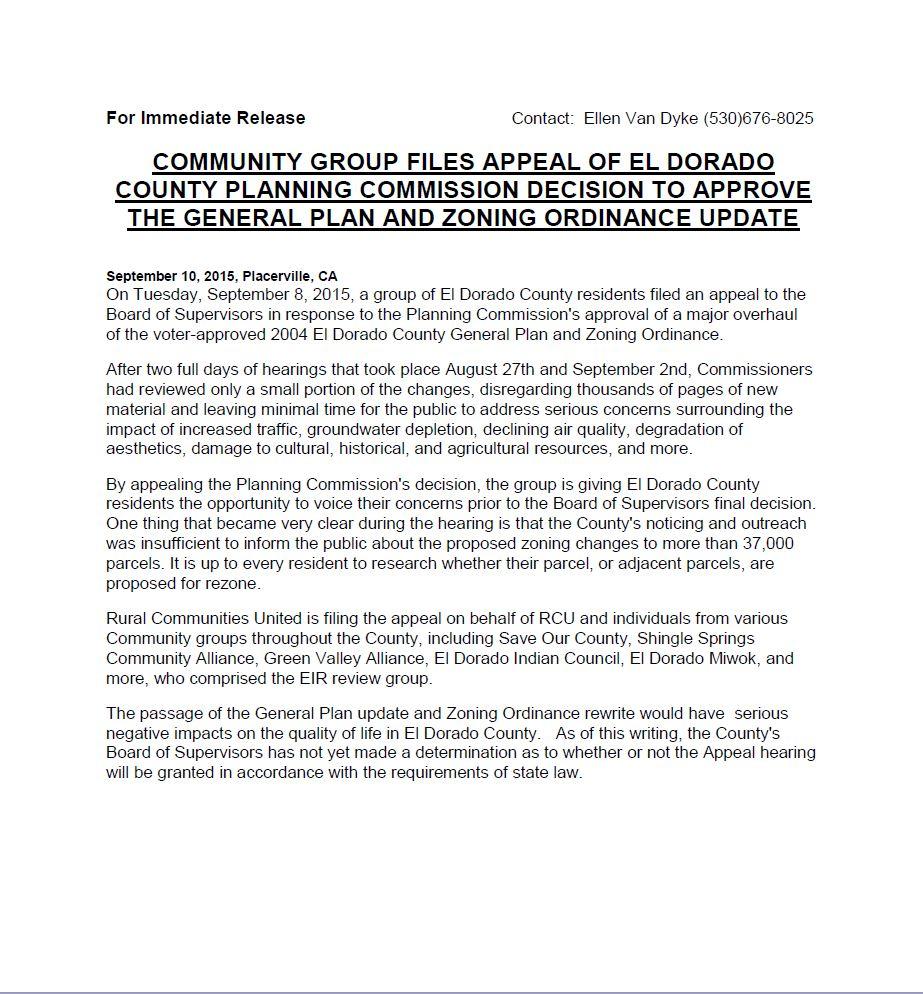 RCU Press Release 9-10-15